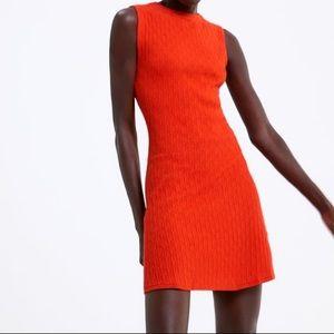 ZARA Textured Dress with Jewel Button